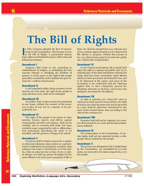The Bill Of Rights Worksheet For 6th 10th Grade Lesson