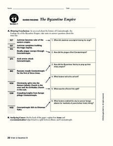 The Byzantine Empire Worksheet
