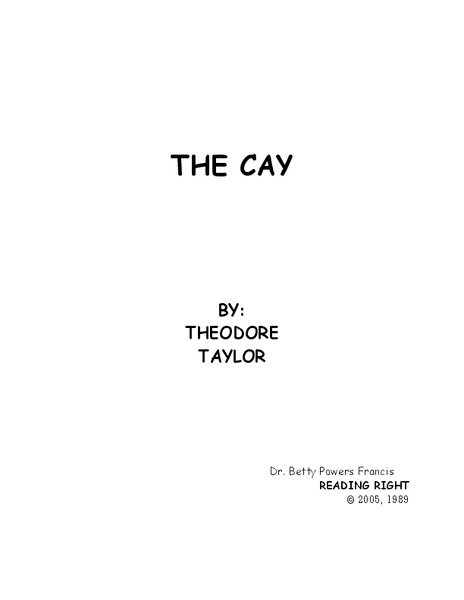 The Cay Worksheet