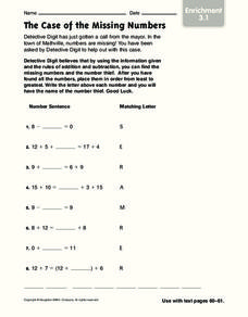 The Case of the Missing Numbers Worksheet