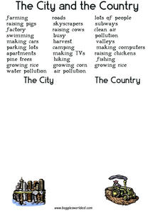 The City and the Country Worksheet
