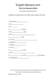 The Classic Songs of Paul Simon Worksheet