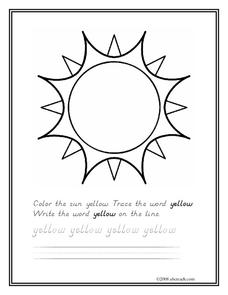 The Color Yellow Worksheet