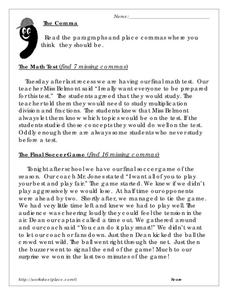 The Comma Worksheet for 5th - 7th Grade | Lesson Planet