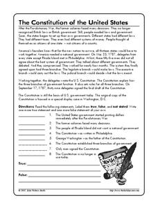 The Constitution of the United States Worksheet