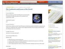 The Continents and Oceans of the World Lesson Plan