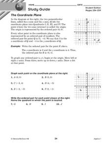 The Coordinate Plane Worksheet