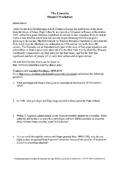 impact of the crusades dbq answers Dq fous : rusades were the crusades caused primarily by religious devotion historical context: historically, the crusades were a series of several military campaigns, usually sanctioned by the papacy what was the impact of rusader occu-pation of the holy land omments.