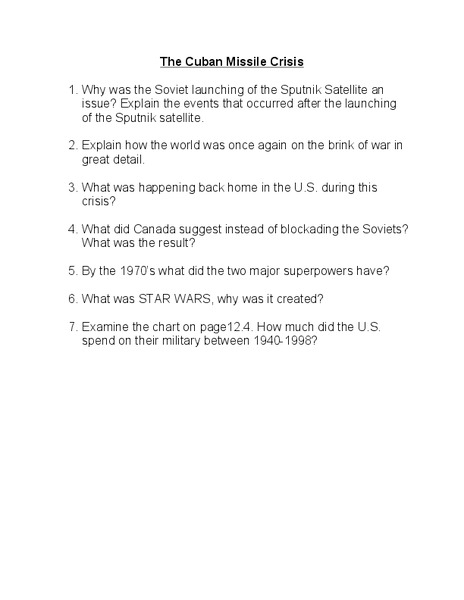 The Cuban Missile Crisis Worksheet For 8th 12th Grade