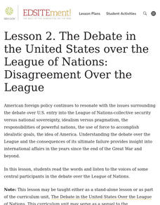 The Debate in the United States over the League of Nations: Disagreement Over the League Lesson Plan