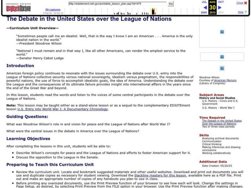The Debate in the United States over the League of Nations Lesson Plan