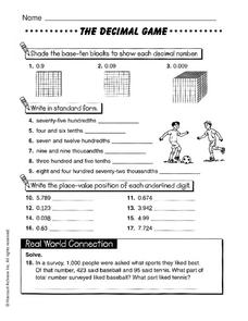 The Decimal Game Worksheet