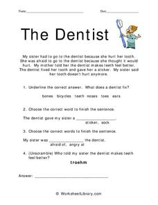 The Dentist Worksheet