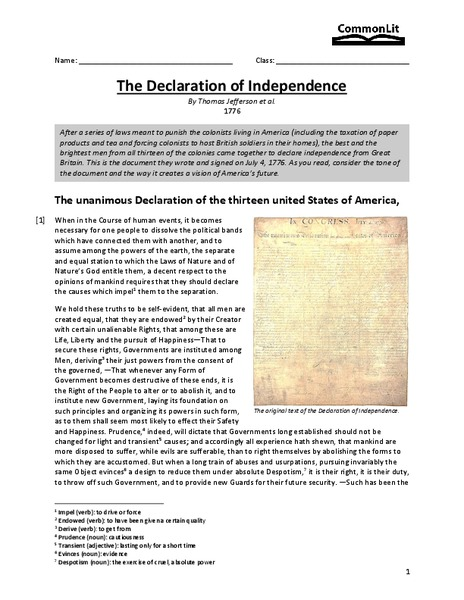 The Declaration of Independence Worksheet