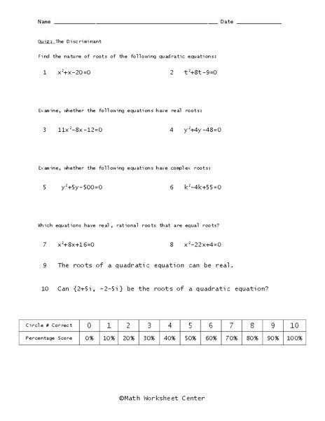 The Discriminant Worksheet For 9th Grade Lesson Planet