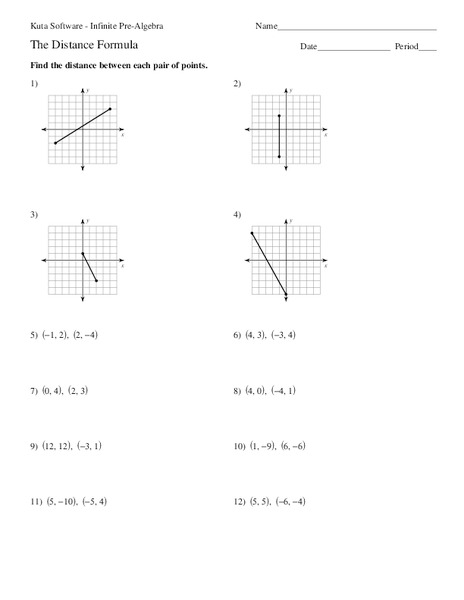 The Distance Formula Worksheet For 7th 9th Grade