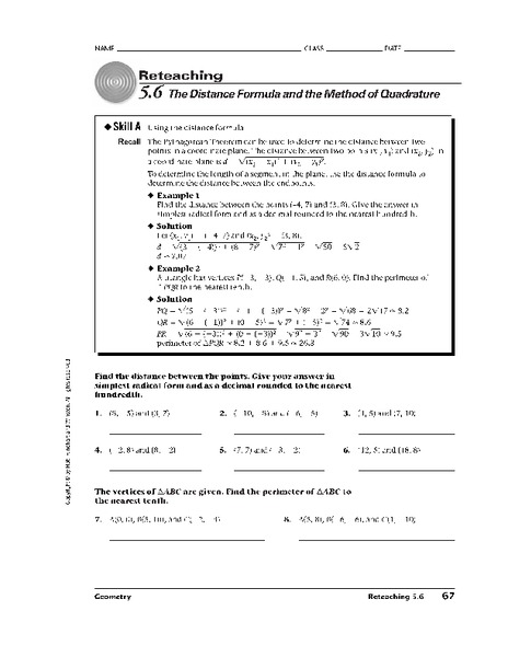 The Distance Formula Worksheet For 10th Grade Lesson Planet