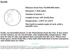 The Earth Worksheet