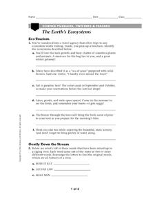 The Earth's Ecosystems Worksheet