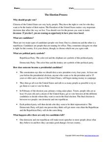 The Election Process Worksheet for 6th - 8th Grade ...
