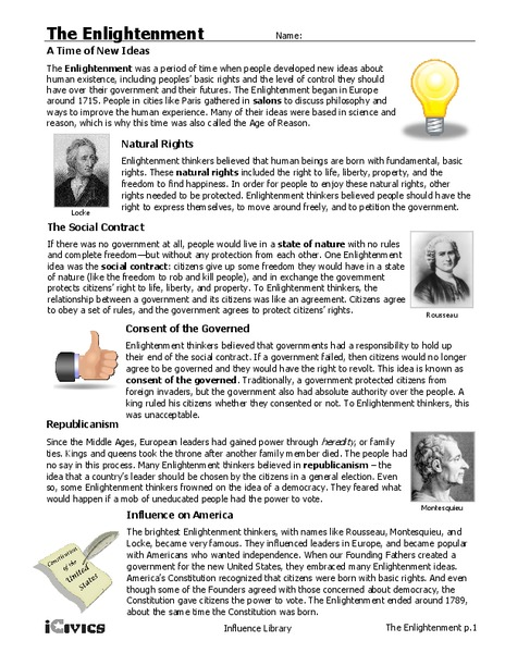 Enlightenment Worksheets Www Picswe Com
