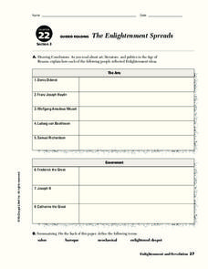 The Enlightenment Spreads Worksheet