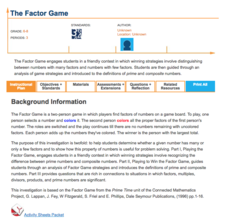 The Factor Game Lesson Plan