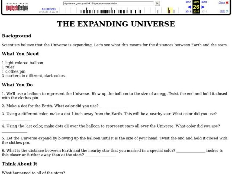 The Expanding Universe Worksheet for 2nd - 6th Grade ...