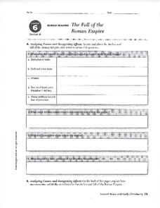 The Fall of the Roman Empire Worksheet
