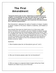 The First Amendment Worksheet