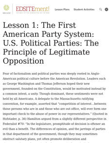 The First American Party System: Events, Issues, and Positions Lesson Plan