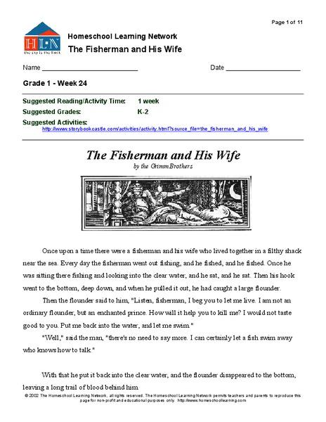The Fisherman and His Wife Kindergarten - 2nd Grade Worksheet ...