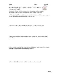 The Five People You Meet in Heaven- Mitch Albom  Worksheet