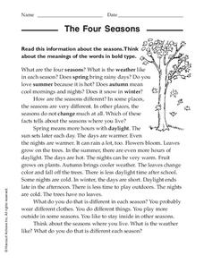 The Four Seasons Worksheet