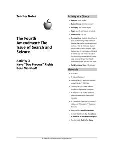 The Fourth Amendment: the Issue of Search and Seizure Lesson Plan