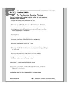 The Fundamental Counting Principle Worksheet