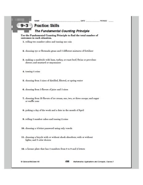 Fundamental Counting Principle Lesson Plans & Worksheets