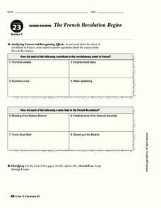 The French Revolution Begins Worksheet
