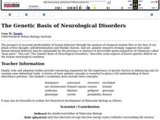 The Genetic Basis of Neurological Disorders Lesson Plan
