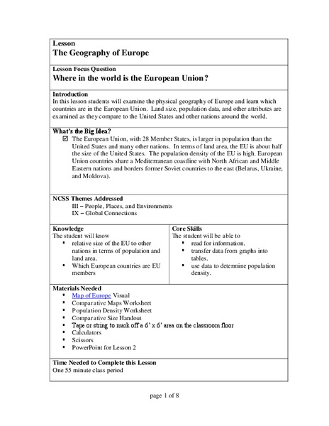 The Geography of Europe Lesson Plan