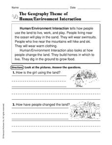 The Geography Theme of Human/Environment Interaction Worksheet for ...