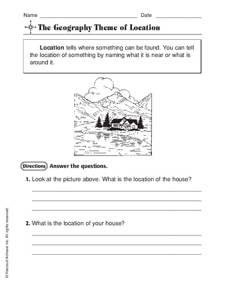 The Geography Theme Of Location Worksheet For 2nd 4th