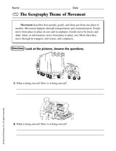 The Geography Theme of Movement Worksheet