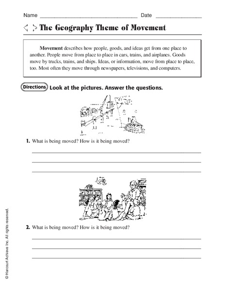 The Geography Theme Of Movement Worksheet For 3rd 4th