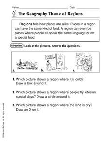 The Geography Theme of Regions Worksheet