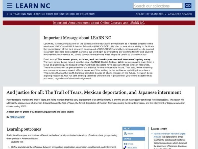 And Justice for All: The Trail of Tears, Mexican Deportation, and Japanese Internment Lesson Plan