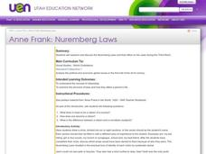 Anne Frank: Nuremberg Laws Lesson Plan