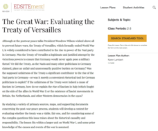 The Great War: Evaluating the Treaty of Versailles Lesson Plan
