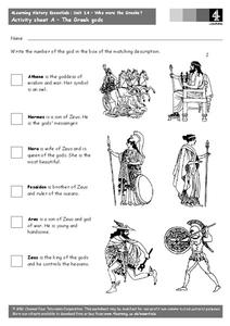 The Greek Gods Worksheet