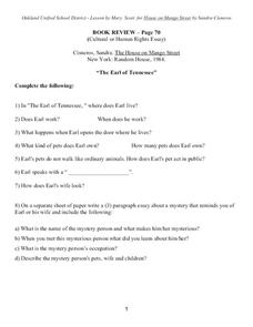 The House on Mango Street: Book Review Worksheet
